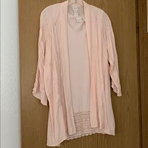 Lot of 2 Chico's pink cardigan top and mini dress